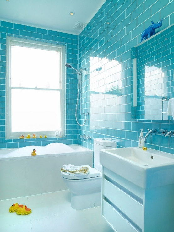 New BLUE Amp GREEN BATHROOM TILES  THE STYLE FILES