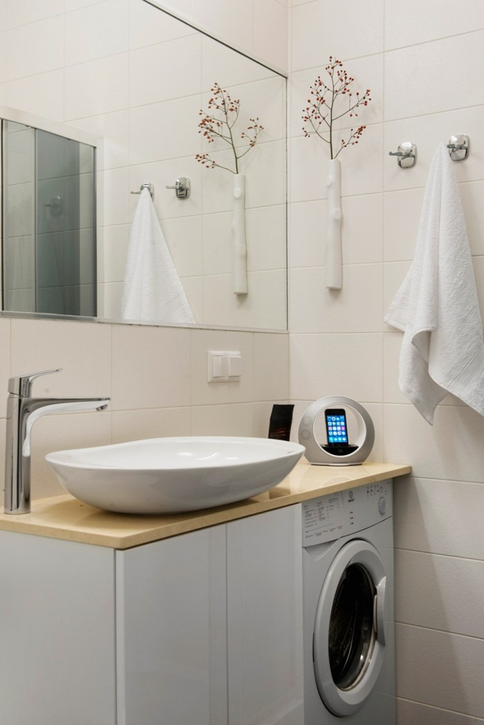Above-Mount-Semi-Circular-Sink-and-Fashinable-Dry-Plant-Details-on-for-Laundry-Room-Applied-White-Tile-Backsplash-and-Frameless-Wall-Mirror-936x1402