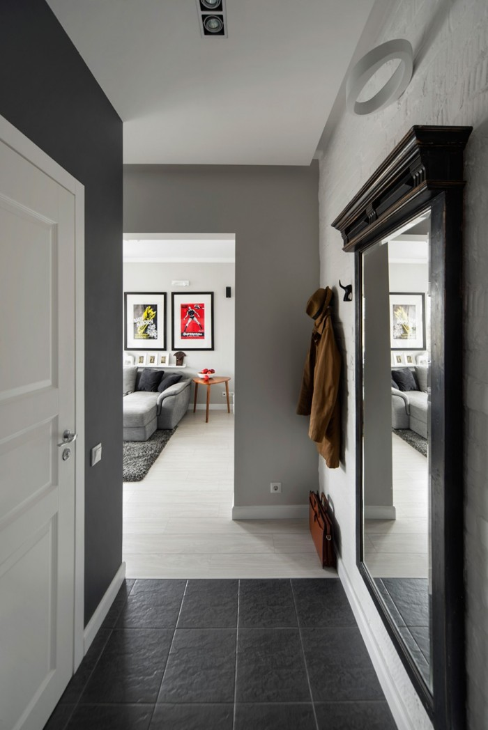 Narrowed-Entrance-Area-of-Moscow-Apartment-in-Gray-and-White-Applied-Traditional-Wall-Hook-and-Large-Woodframe-Wall-Mirror-936x1402