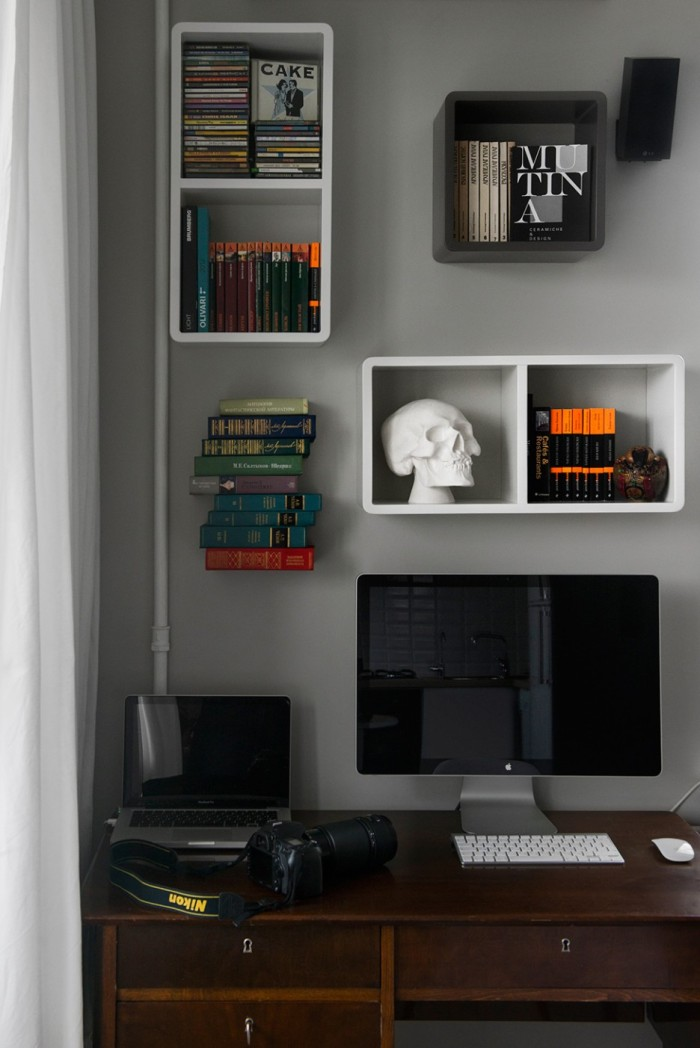 Nice-Books-Collection-Setting-on-Wall-Shelving-Unit-at-Modern-Home-Office-Applied-a-Darkwood-Office-Dsk-and-Nice-Decoration-936x1402