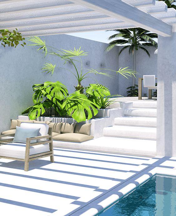 Decorando terrazas y patios con y sin piscina nova te for Patios modernos con piscina